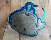Whale Headband- Gray Felt and Blue Vinyl on Satin Covered Headband, Made in USA, Quick Ship, Nautical Sea Life Ocean Animal Headband
