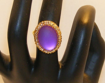Lunasoft Cabochon Ring, Grape Color, Moonglow, Matte, Gold Tarnish Resistant Wire Wrapped Base, Size 7