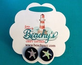 """5/8""""Acrylic Post Earrings, Black with Silver Glitter Starfish, RTS"""