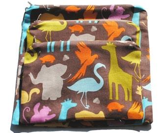 Reusable Sandwich Snack Bags set of 3 Zipper Riley Blake Zoo Animals Brown