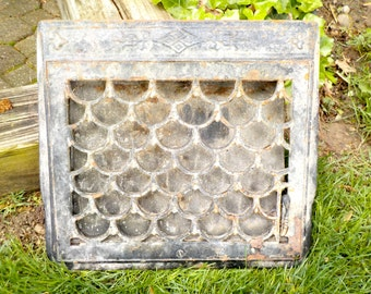 Cast Iron Floor Grate, Architectural Salvage, Furnace Floor or Wall Grate, Complete with Back Panel, Screws, Ornate Original Art Deco, 1920s