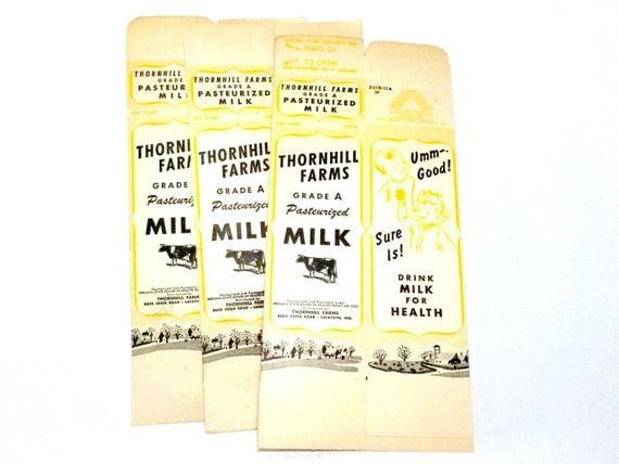 Cardboard Milk Cartons, Old Milk Cartons, Flat, Set of 3, Milk Container, Milk Carton, Farmhouse Kitchen, Thornhill Farms, 1 Qt