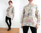 80s Floral Oversize Pullover Knit Sweater - Antique Rose Vintage Soft Grunge // Small Medium