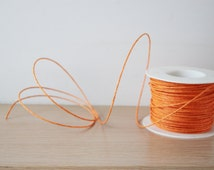 Orange paper cord, flexible craft making cord of paper with wire, thick paper, wired cord in warm orange, flexible wire for wreaths, 5 yards