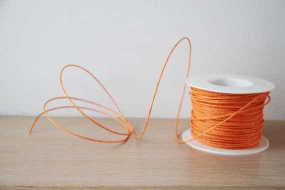 Orange paper cord, flexible craft making cord of paper with wire ...