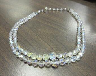 Arora Borealis Lead Crystal Double Strand Necklace