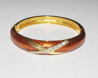 Joan Rivers Hinged Bangle - Bronze Enamel with Crystals - S1242