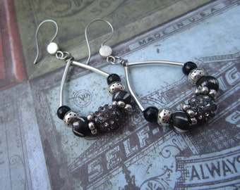 Silver and Black Tear Drop, Hippie, Boho, Hoop Earrings
