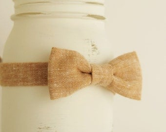 Summer baby bow tie, tan baby bowtie, tan linen bow tie, baby spring bow tie, summer photo prop baby bowtie  - made to order