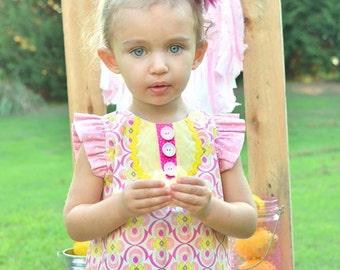 SALE....Buy 2 get 1 Free....Instant  Download PDF Sewing Pattern Pink Lemonade Girls Flutter Sleeve Top 6-12m to 8