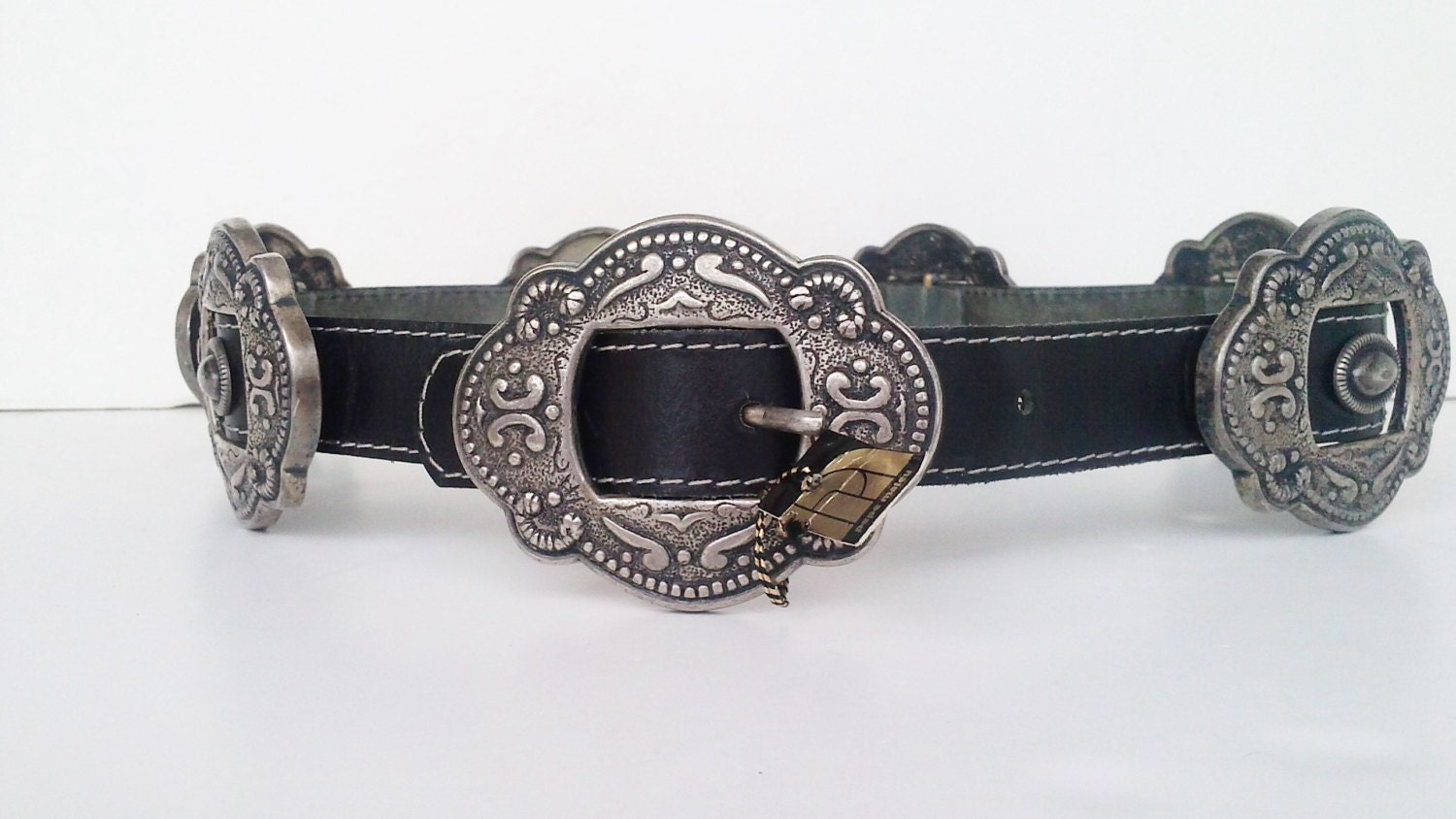 black leather belt with silver buckles