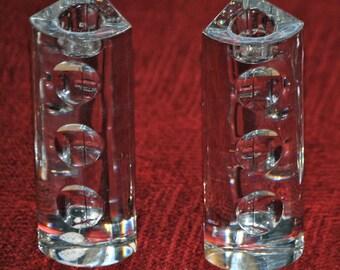 Two LENOX OVATIONS MOONLIGHT Crystal Candleholders