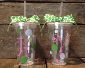 Acrylic cup with lid and straw