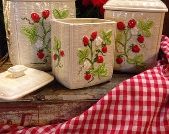 Country French VINTAGE STRAWBERRY CERAMIC canisters
