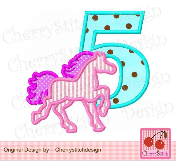Horse number silhouette machine embroidery applique