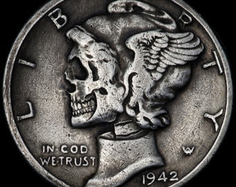 Hand Carved Silver Mercury Dime coin human SKULL - Hobo nickel by Seth Basista SB carvings engraved sculpted
