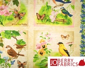 Song Birds Fabric Panel, Flights of Fancy Collection by Jane Maday for Wilmington Prints, Quilt or Craft Fabric, Fabric Panel