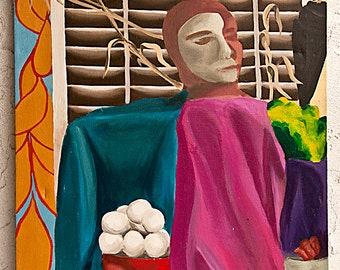 SALE 50% OFF Awesome Mid Century Oil Painting: Still Life With Mask by Gianna Jean Killams