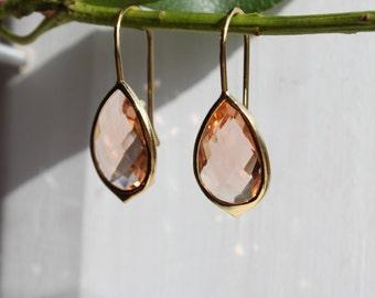 Dangle Earrings - Stone Earrings - Drop Earrings - Gold Earrings - Peach Quartz Earrings - Quartz Earrings - Peach Earrings