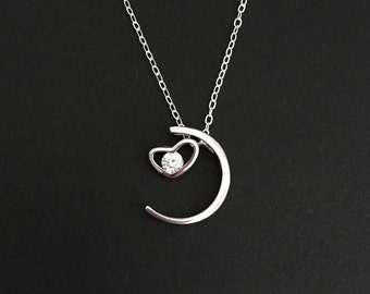 Sterling Silver Solitaire Necklace. I Love You To The Moon and Back Necklace. Sterling Silver Heart & Moon Necklace. Gift for Her.