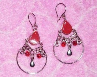 Red Murano Glass Tear Drop Earrings Hoop Chandelier Pear Boho
