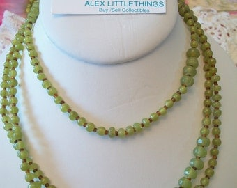 Long Jade Green Cookie Lee Beaded Necklace