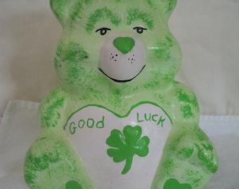Care Bears Green Good Luck Bear Figurine St Patricks Day Decor Retro Statue Cake Topper