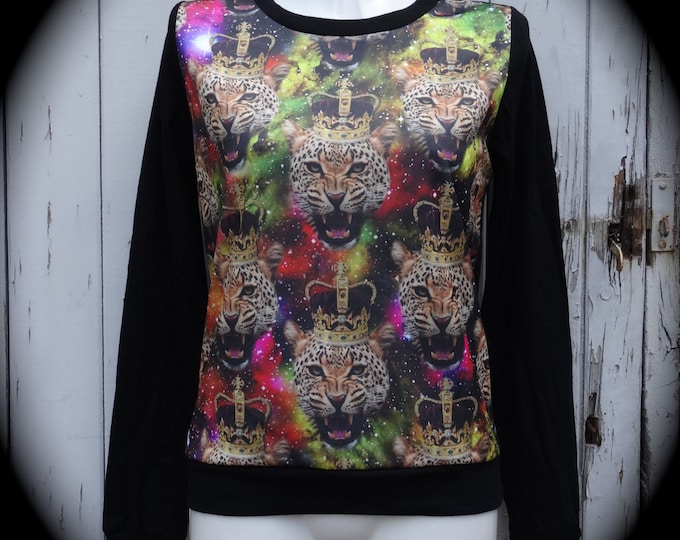 Galaxy King Leopard Sweater - Size 8 10 12 - Rockabilly Jumper Top Long Sleeve Tiger Regal