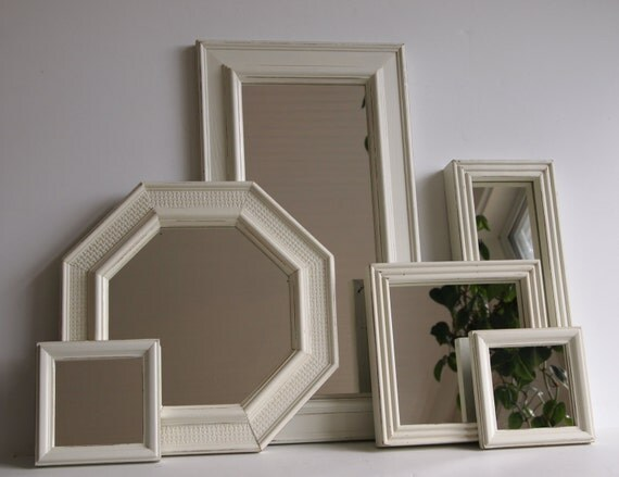 Mirrors vintage wood framed set of six wall by mollymcshabby for Mirror collage wall