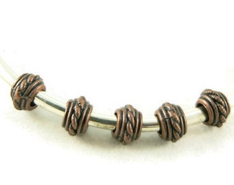 Antique Copper Large Hole Spacer beads - Euro Style Beads - Rope Design - Rondelle Beads - Jewelry Supplies - Beading Supplies - 20 Beads