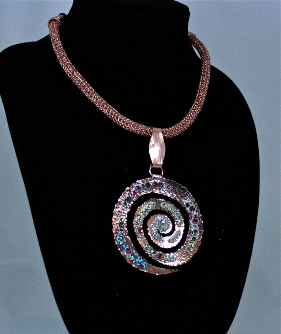 Copper Necklace Ancient Rock Art Spiral Symbol with Crystal Galaxy Stars