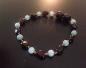 Dark Cherry Baltic Amber and Amazonite Teething Anklet/Bracelet 6 inches