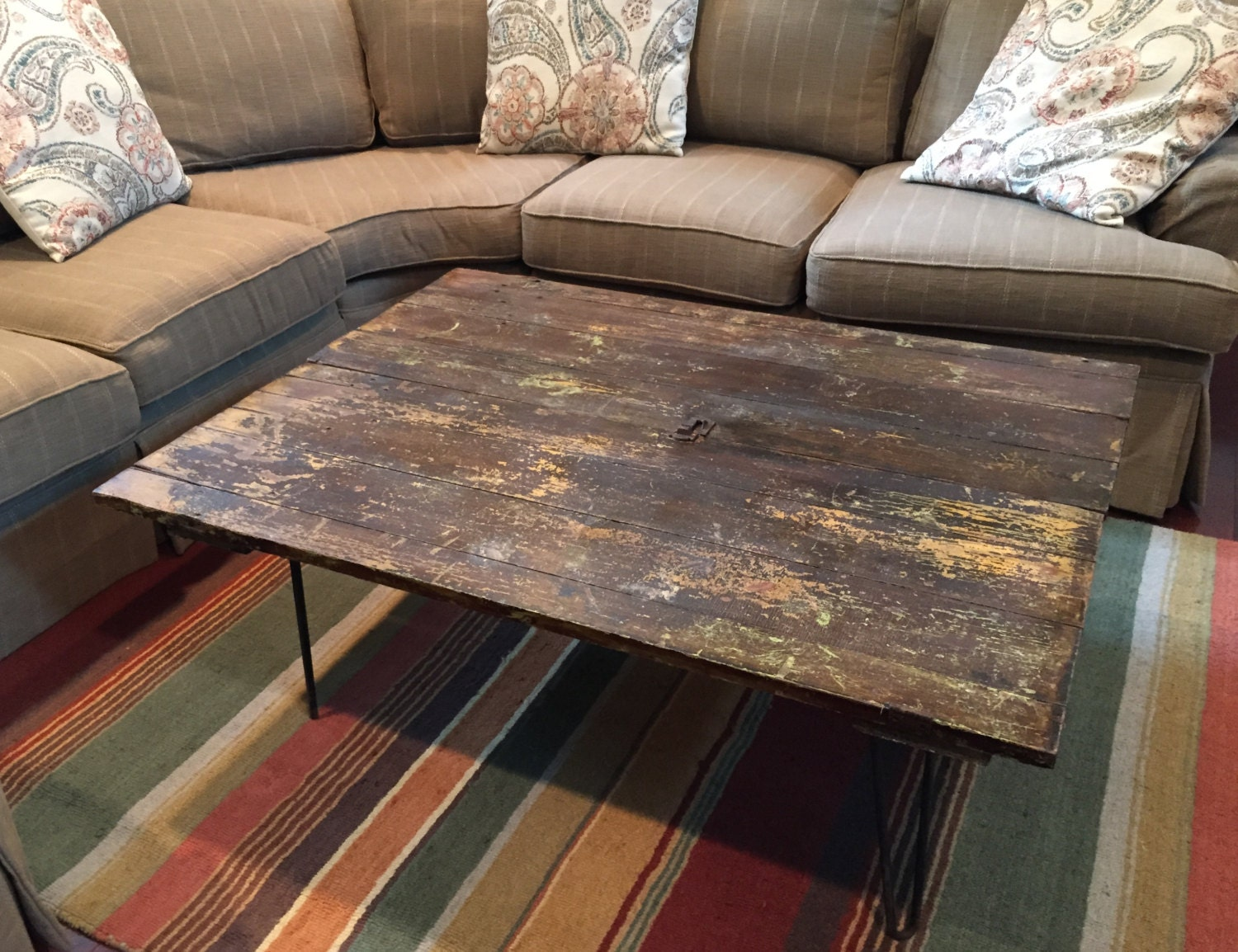 Reclaimed Shed Barn Door Coffee Table With Old Hardware And