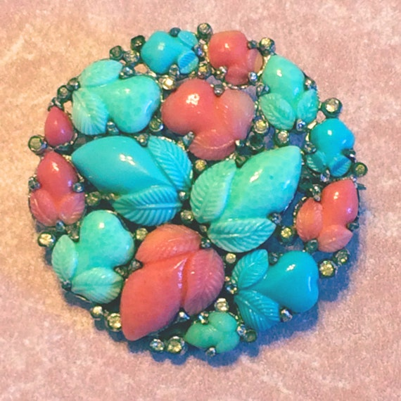 Amazing Trifari KTF Fruit Salad Pin Faux Coral, Turquoise and Jade