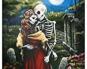 Skeleton Graveyard Romance Day of the Dead Art Print by Bones Nelson