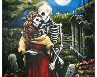Valentine Skeleton Romance Day of the Dead Art Print La Catrina Couple Rockabilly Gothic love art Dia de los Muertos Love Bones Nelson
