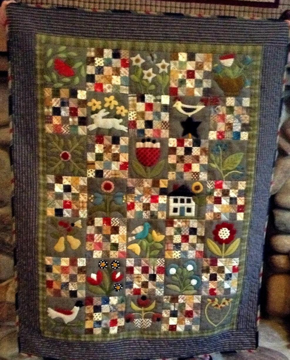 Primitive Quilt Pattern Cottage Garden Applique Quilt