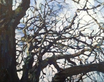 """PRINT REPRODUCTION of the oil painting """"Tree II"""" on A4 paper"""