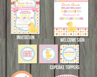 Rubber Duck Birthday Party, Rubber Duck Party Kit, Rubber Duck, Rubber Duck Birthday Package, Rubber Duck Birthday Invitation, Rubber Duck