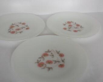 Fire King Fleurette Dinner Plates - Set of 3
