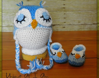 Crochet Baby Sleepy Owl Hat and Booties/Photo Prop