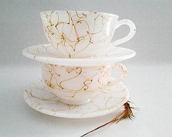 "Mid Century Hazel Atlas ""Drizzle"" Caramel And White Cup And Saucer (2), 1940s Collectible/Replacements/American Glassware/USA Made/Art Deco"