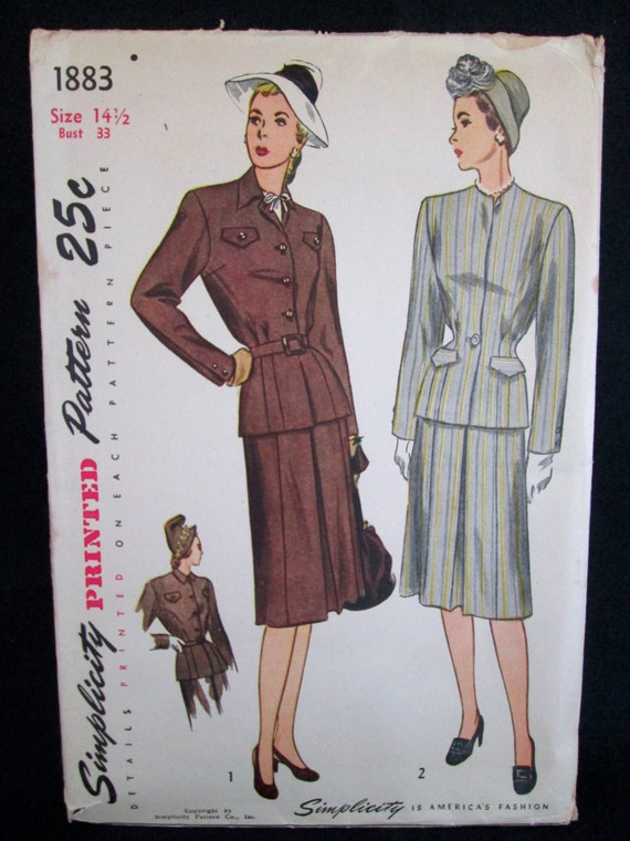 Vintage Simplicity Pattern #1883 Misses' and Women's TWO-PIECE SUIT 1940's Sewing Pattern Instructions