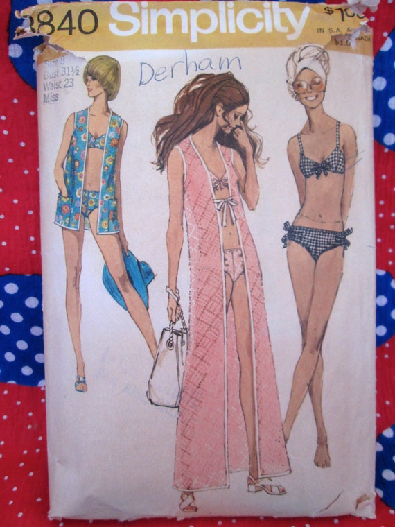 Vintage Simplicity Pattern #8840 Misses' Beach COVER-UP and BIKINI 1970's Printed Sewing Pattern w/ Instructions Pool Swim Wear