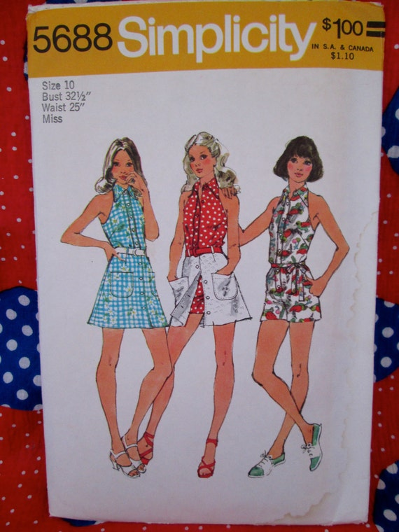 Vintage Simplicity Pattern #5688 Misses' HALTER-JUMPSUIT and Short SKIRT 1970's Printed Sewing Pattern w/ Instructions~Summertime Wear