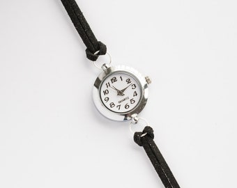 Black Suede Bracelet Watch