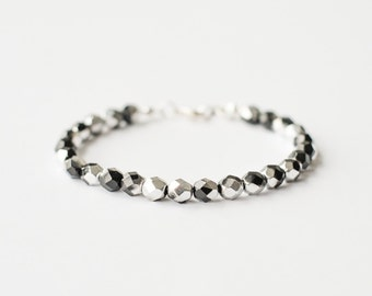 Silver and black bead bracelet