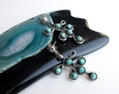 Vintage1960s Native American Earrings, Navajo Turquoise & Sterling, Dangling, Pierced, Southwestern USA.