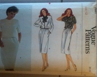 """Vogue Suit Pattern 7651 Size: 12, Bust 34"""", Waist 26"""", Hip 36"""""""