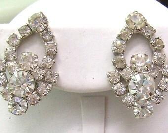 Sale...Vintage Rhinestone Earrings...Clip On Rhinestones...Wedding Jewelry...Graduation...Birthday